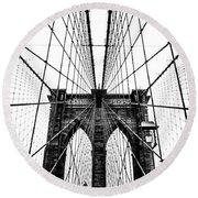 Brooklyn Bridge Web Round Beach Towel