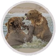 Brown Bears Fighting Round Beach Towel