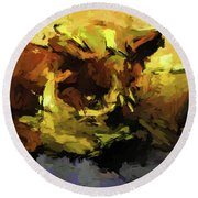 Brown Cat On The Cushion Round Beach Towel