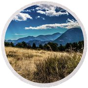 Brown Grass And Mountains Round Beach Towel