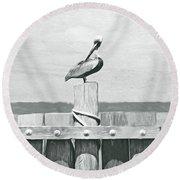 Brown Pelican Bw Round Beach Towel