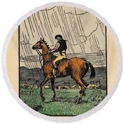 Round Beach Towel featuring the painting Brown Stallion, Omey by Val Byrne