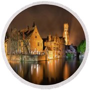 Round Beach Towel featuring the photograph Brugge Belgium Belfry Night by Nathan Bush
