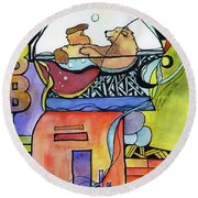 Bubble Bath Bear Round Beach Towel