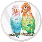 Budgies In Love Round Beach Towel