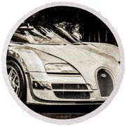 Round Beach Towel featuring the photograph Bugatti Legend - Veyron Special Edition -0844scl2 by Jill Reger