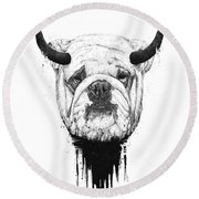 Bull Dog Round Beach Towel
