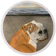 Bulldog  On The Beach Round Beach Towel