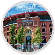 Bullring In Barcelona Round Beach Towel