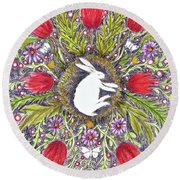 Bunny Nest With Red Flowers Variation Round Beach Towel
