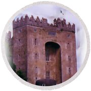 Bunratty Castle Painting Round Beach Towel