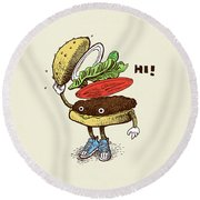 Burger Greeting Round Beach Towel