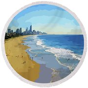 Burleigh Beach Gold Coast Australia 070708 Cartoon Round Beach Towel