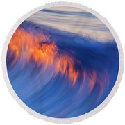 Burning Wave Round Beach Towel