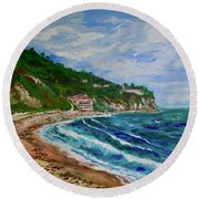 Burnout Beach, Redondo Beach California Round Beach Towel