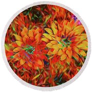 Round Beach Towel featuring the photograph Bursting With Life by Mike Braun