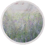 Buttercups And Bluebells Round Beach Towel