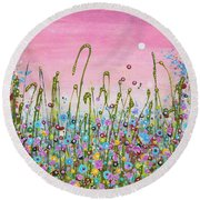 Buttercups And Lilacs Round Beach Towel