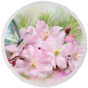 Butterfly On Cherry Blossom Round Beach Towel