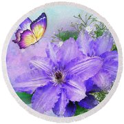 Butterfly On Clematis Round Beach Towel