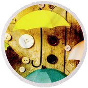 Button Storm Round Beach Towel