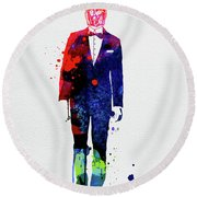 C-3po In A Suite Watercolor Round Beach Towel