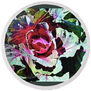 Round Beach Towel featuring the painting Cabbage by John Dyess