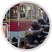 Cable Car And Paparazzi Dogs 2 Round Beach Towel