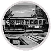 Cable Car Turn Around Round Beach Towel