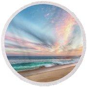Cabo San Lucas Beach Wave Sunset Round Beach Towel