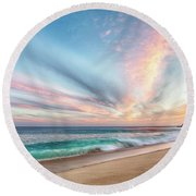 Round Beach Towel featuring the photograph Cabo San Lucas Beach Wave Sunset by Nathan Bush
