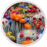 Cacti Flowers Round Beach Towel