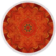 Cadmium Orange Marigold Abstract Round Beach Towel