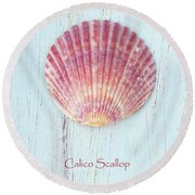 Calico In Pink Round Beach Towel