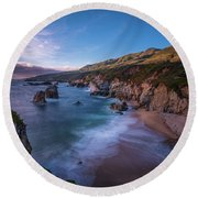 California Big Sur Evening Coastal Tranquility Round Beach Towel