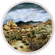 California Desert Landscape - Watercolor Art Painting Round Beach Towel