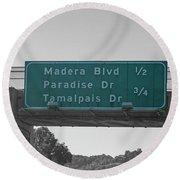 California Highway Sign Number 156 Round Beach Towel