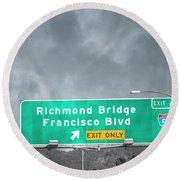 California Highway Traveling Richmond Bridge Round Beach Towel