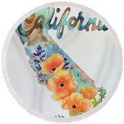 California Map Round Beach Towel