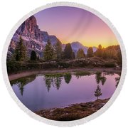 Calm Morning On Lago Di Limides Round Beach Towel