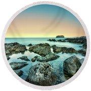 Calm Rocky Coast In Greece Round Beach Towel