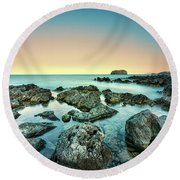 Calm Rocky Coast In Greece Round Beach Towel