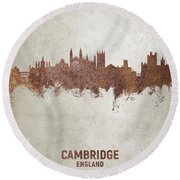 Cambridge England Rust Skyline Round Beach Towel