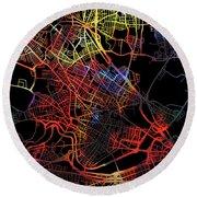 Cambridge Massachusetts City Street Map Watercolor Dark Mode Round Beach Towel