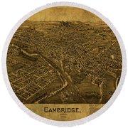 Cambridge Ohio Vintage City Street Map 1899 Round Beach Towel