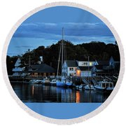 Camden Maine Twightlight Round Beach Towel