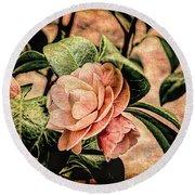 Camellia Grunge Round Beach Towel