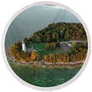 Round Beach Towel featuring the photograph Cana Island Aerial by Adam Romanowicz