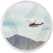 Round Beach Towel featuring the photograph Canadian Helicopters Sikorsky S61n C-gjqg by SR Green