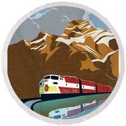 Canadian Pacific Rail Vintage Travel Poster Round Beach Towel